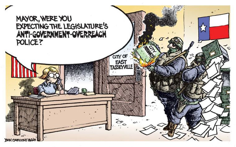 Political cartoon about the Legislatures anti-government overreach police